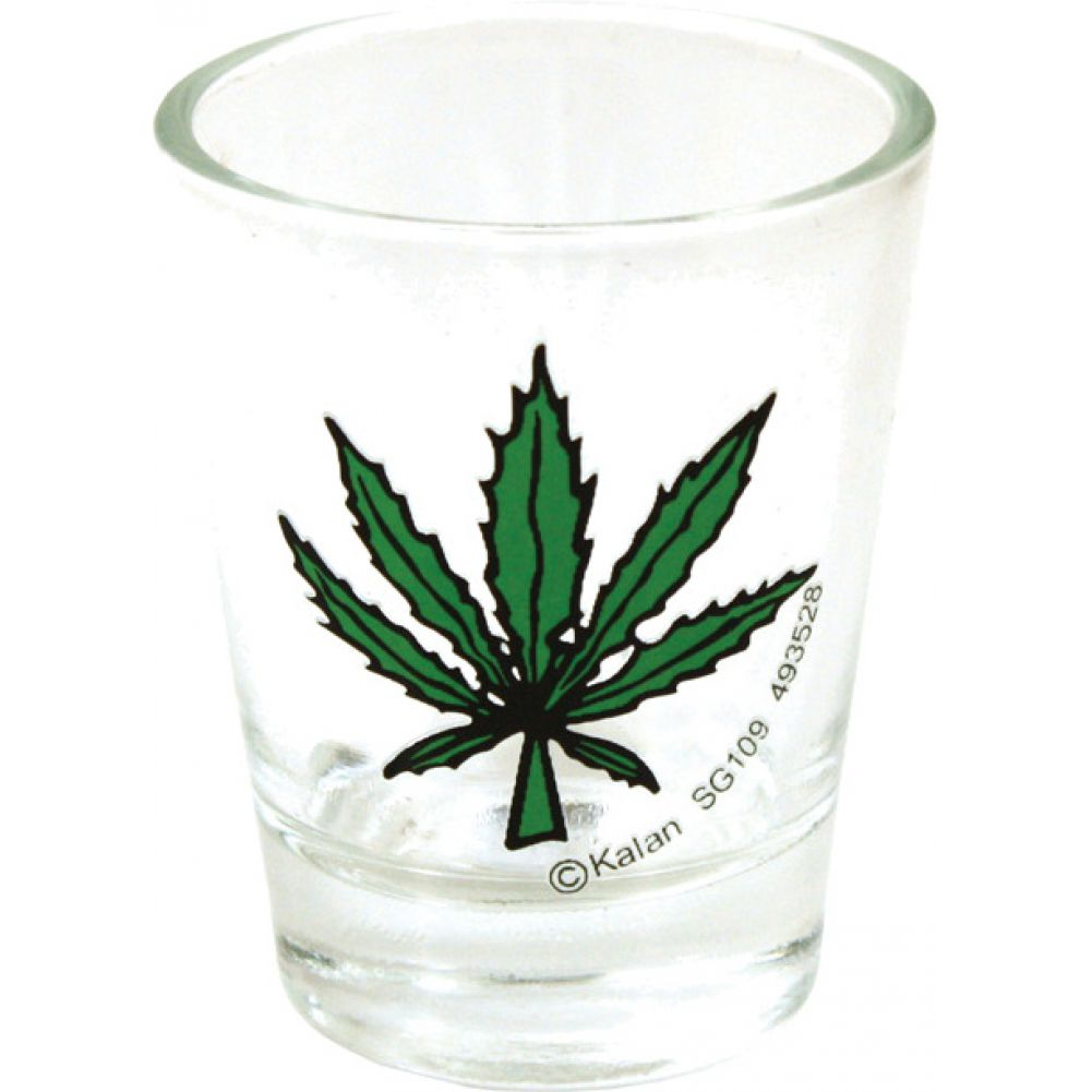 Pot Leaf Clear Shot Glass - View #1