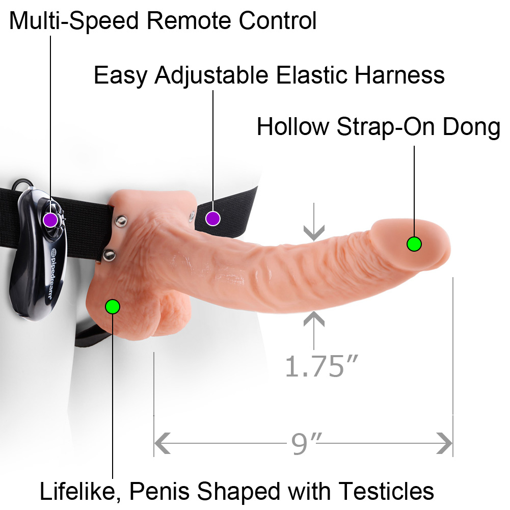 "Pipedreams Fetish Fantasy Series Vibrating Hollow Strap-On with Balls 9"" Natural Flesh - View #1"