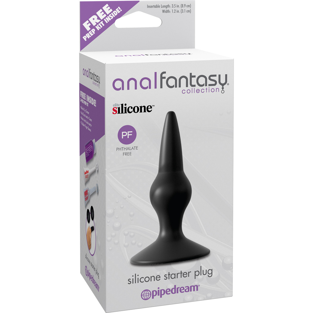 "Pipedreams Anal Fantasy Collection Silicone Starter Butt Plug 4"" Black - View #1"