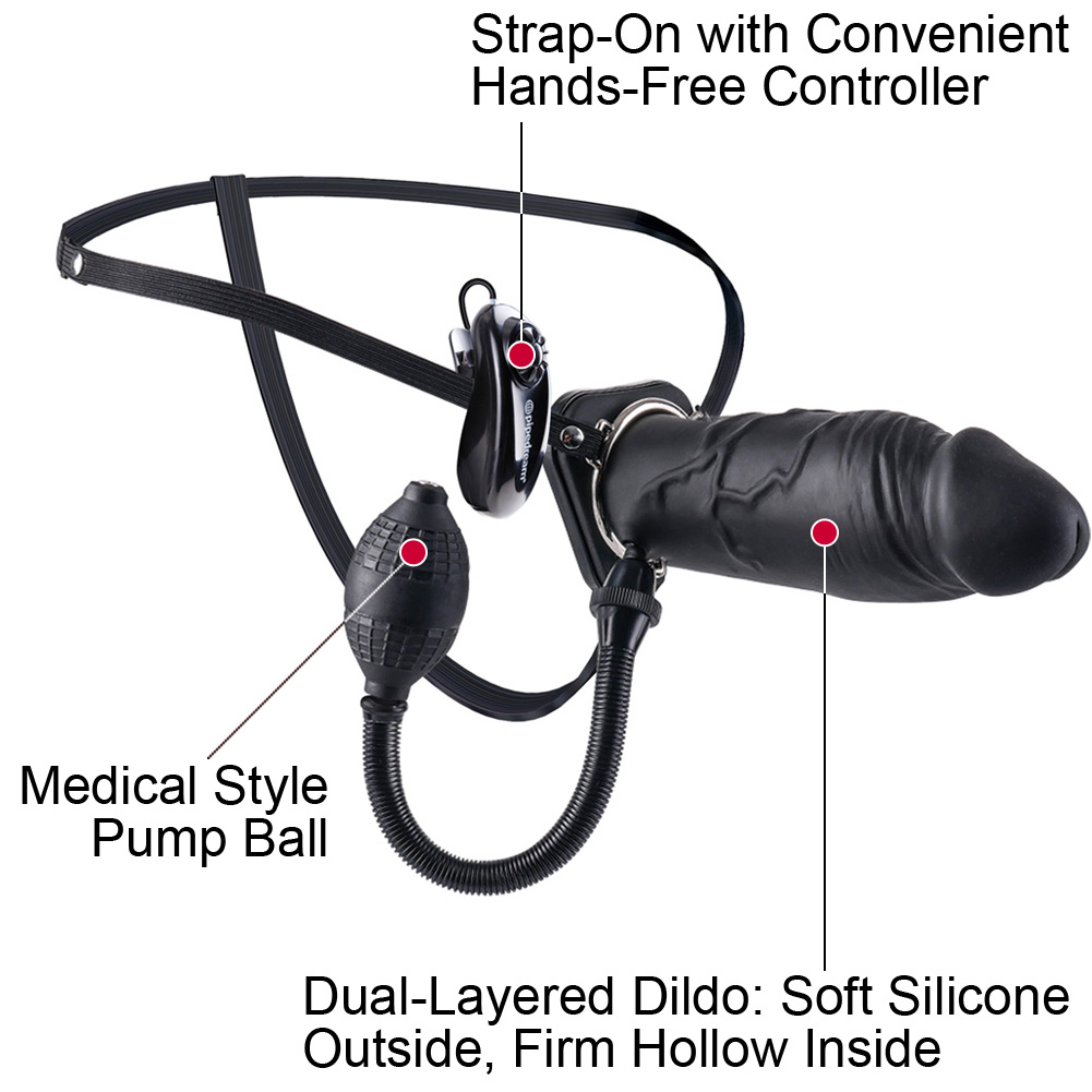 "Pipedreams Fetish Fantasy Extreme Inflatable Vibrating Hollow Silicone Strap-On Dong 8"" Black - View #1"