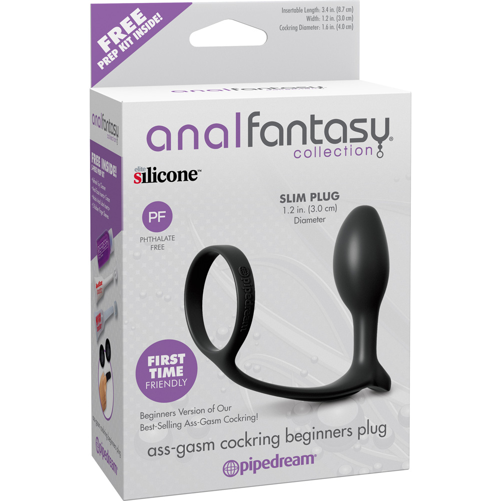 "Pipedream Anal Fantasy Ass Gasm Silicone Cockring Beginners Plug Slim 3.5"" Black - View #1"