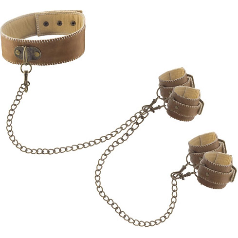 Shots Ouch Leather Collar with Hand and Leg Cuffs Brown - View #2