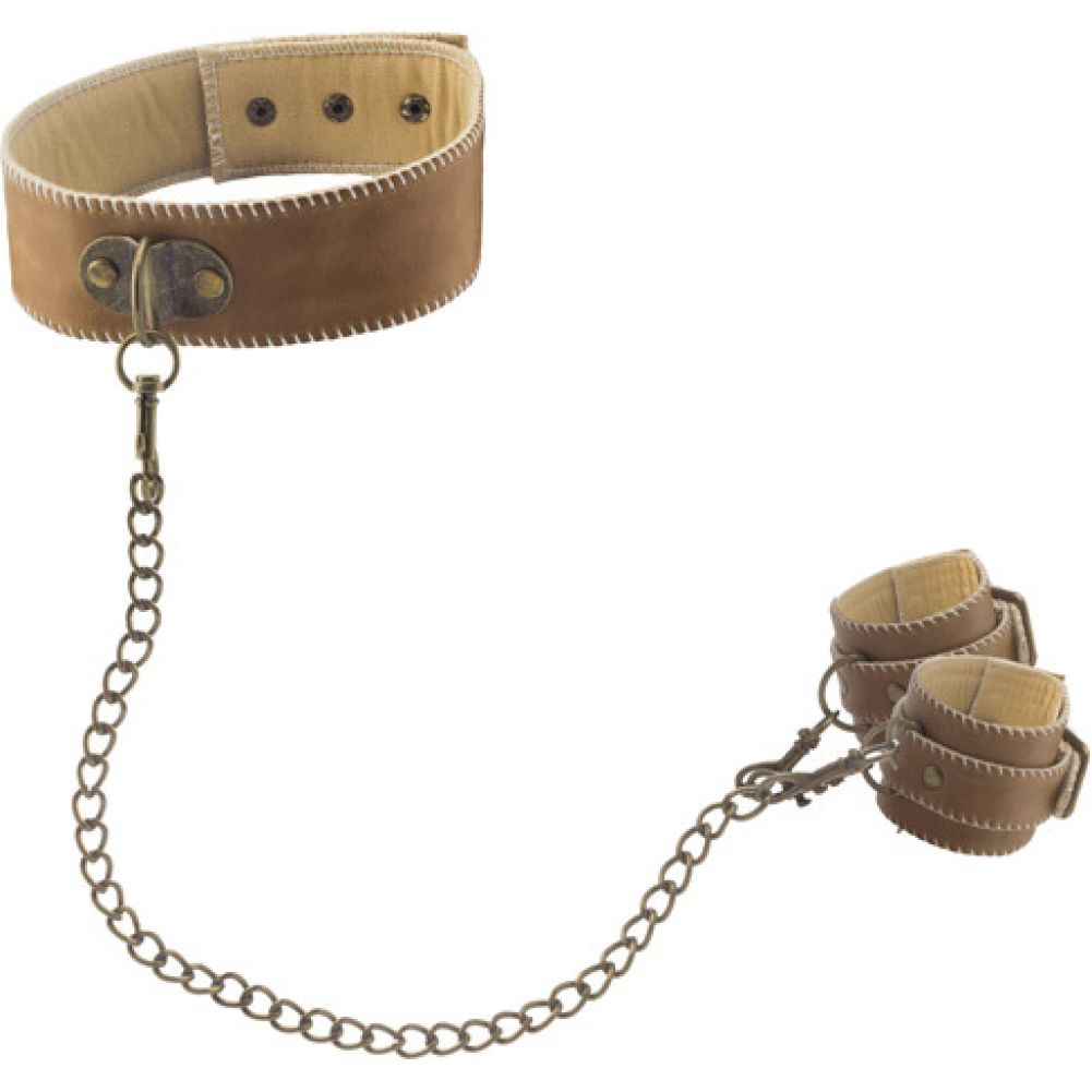 Ouch Premium Bonded Leather Collar with Handcuffs Brown - View #2