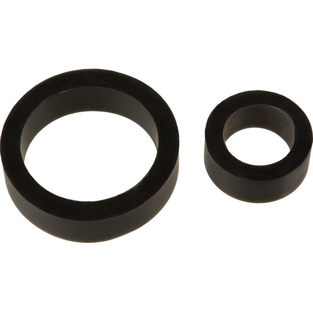 Doc Johnson TitanMen Platinum Silicone Cock Ring Pack of 2 Black - View #2