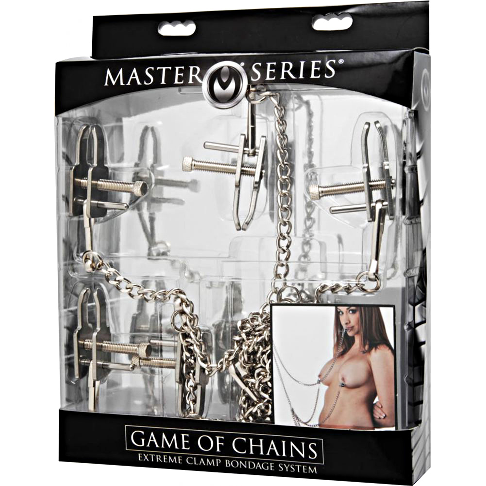 """Master Series Game of Chains Extreme Clamp Bondage System 12"""" Silver - View #1"""