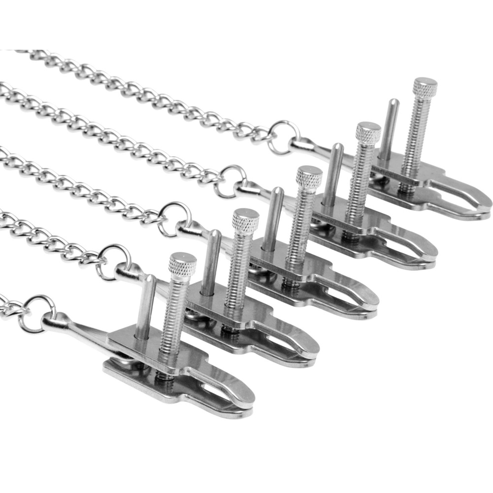 """Master Series Game of Chains Extreme Clamp Bondage System 12"""" Silver - View #3"""