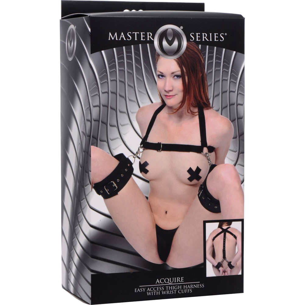 Master Series Acquire Easy Access Thigh Harness With Wrist Cuffs Black - View #4