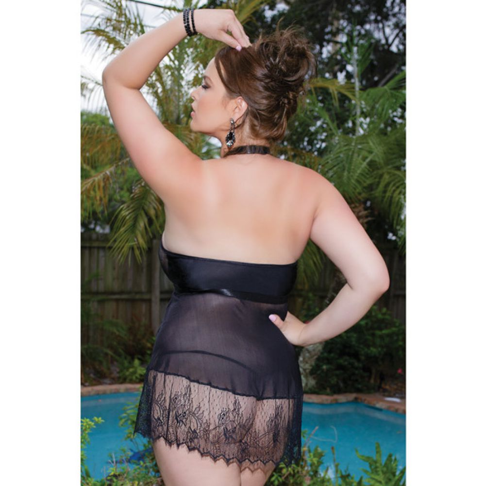 Scalloped Eyelash Lace and Mesh Halter Babydoll with G-String Plus Size Black - View #4