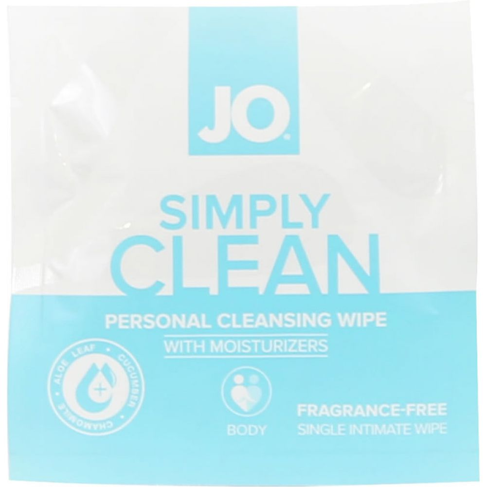 System JO Personal Cleansing Wipes Singles Simply Clean 24 Single Packs Per Box - View #1