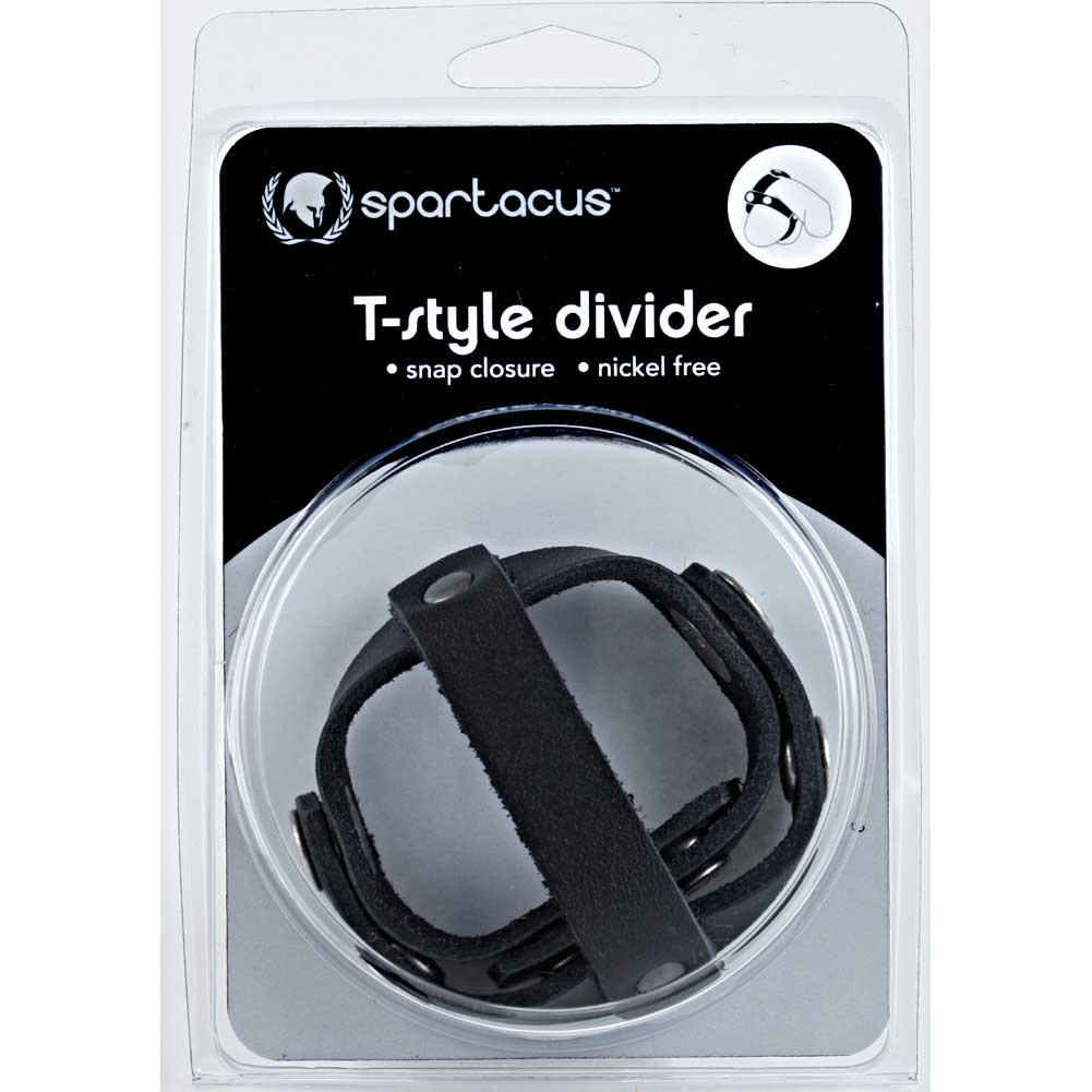 Spartacus T Style Cock and Ball Divider Black - View #3