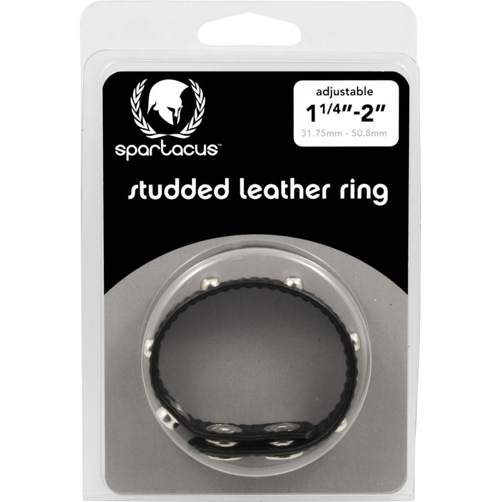 Spartacus Deco Leather Cock Ring with Studs Black - View #1
