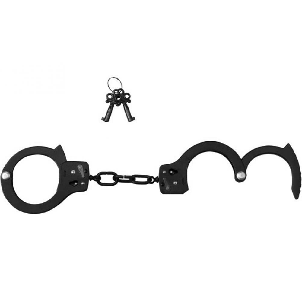Spartacus Black Coated Steel Handcuffs with Single Lock Black - View #3