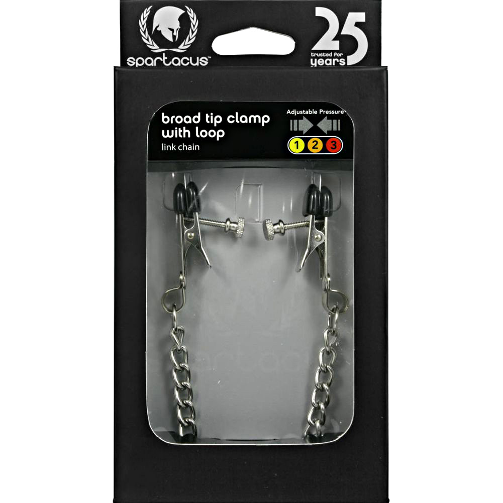 Spartacus Adjustable Broad Tip Nipple Clamps with Loop and Link Chain Silver - View #1