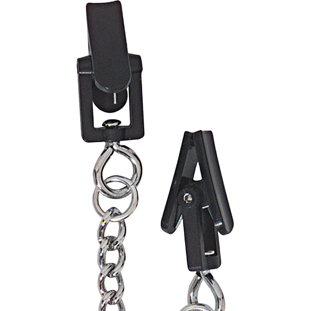 Spartacus Endurance Plastic Grabber Nipple Clamps with Link Chain Silver - View #3