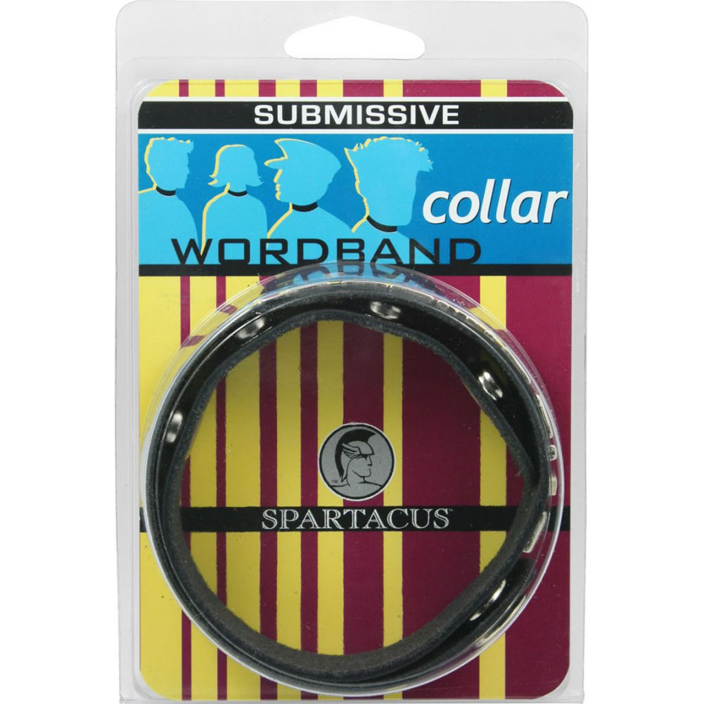 Spartacus Wordband Collar Submissive Black - View #1