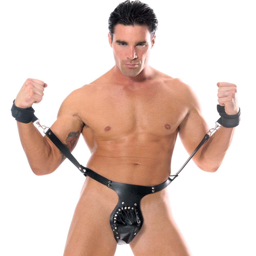 Pipedream Fetish Fantasy Jockstrap with Wrist Restraints Black - View #2