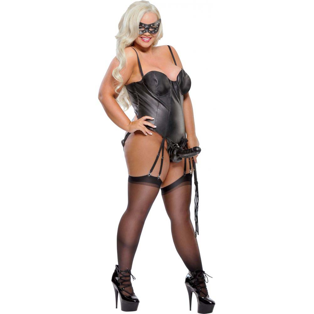 Fetish Fantasy Lingerie Strap-On Mistress Corset with Dildo Black Xxxlarge - View #1