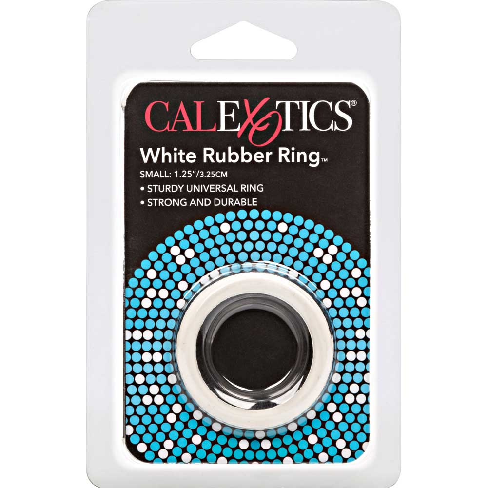 "CalExotics Small Rubber Cock Ring 1.25"" White - View #1"