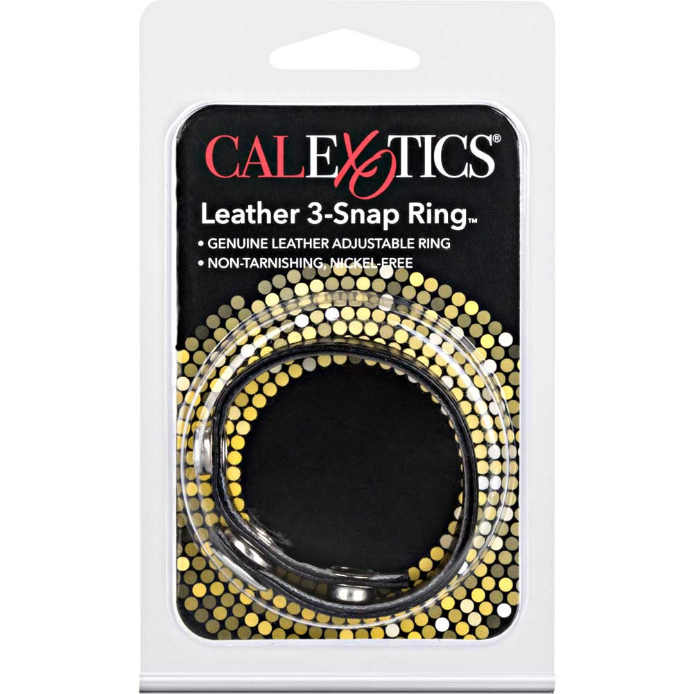 CalExotics 3 Snap Leather Cock Ring Black - View #1