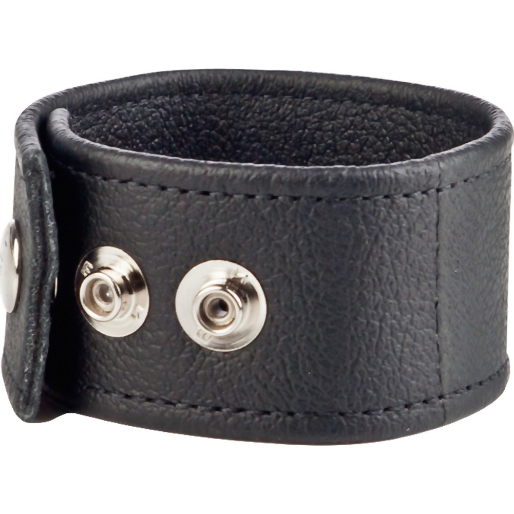 COLT by CalExotics Double Wide Leather Cock and Ball Strap Black - View #2