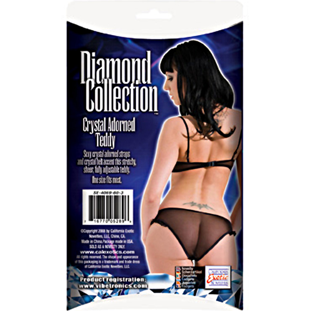 Diamond Collection Crystal Adorned Teddy by CalExotics One Size Black - View #1