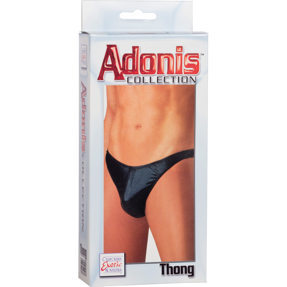 Adonis Collection Wet Look Thong for Men by CalExotics One Size Black - View #1