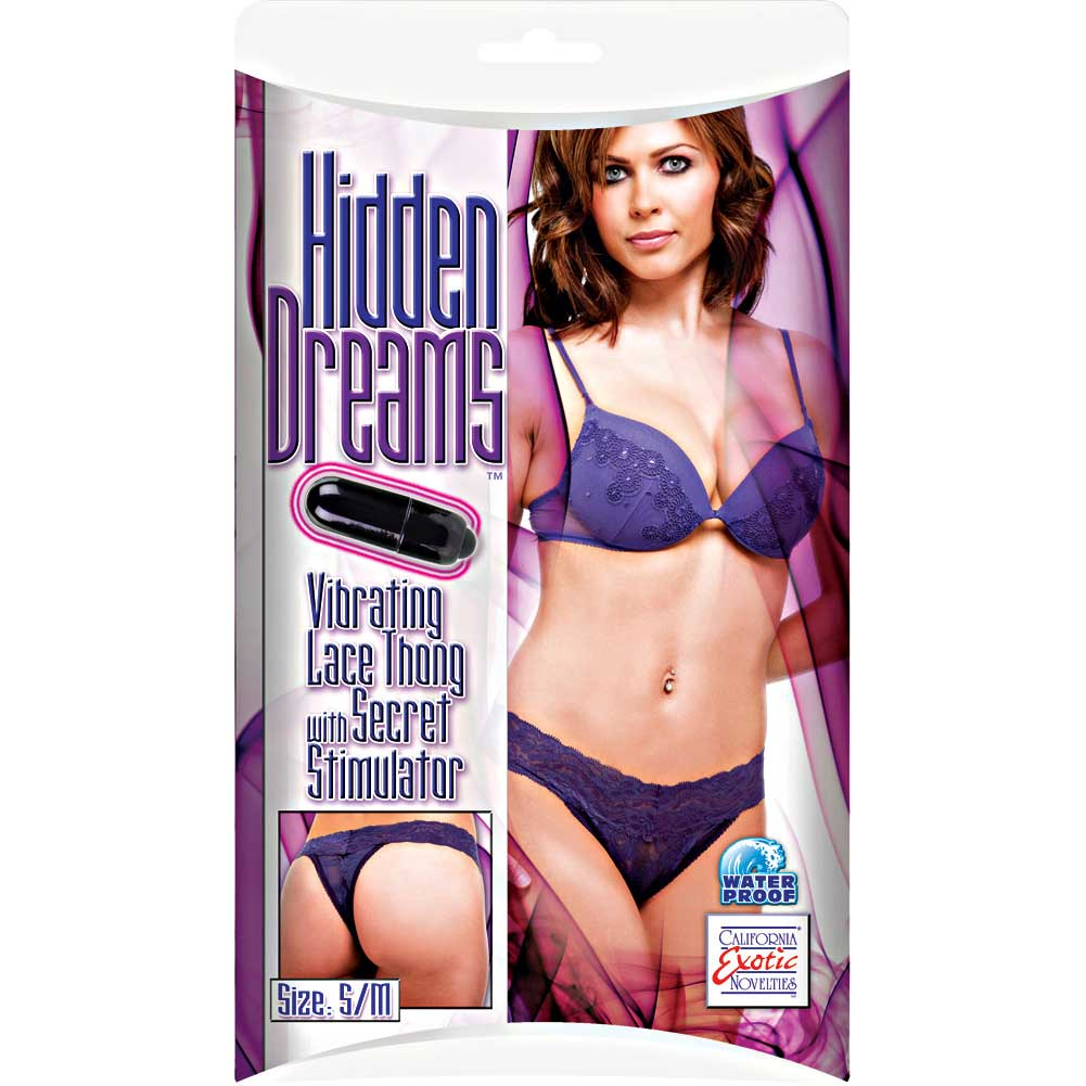 Hidden Dreams Lace Thong with Secret Stimulator by CalExotics Small/Medium Purple - View #2