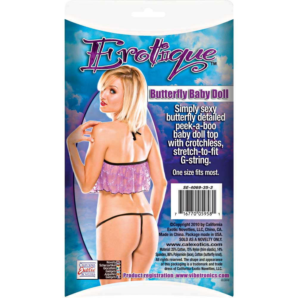 Erotique Butterfly Baby Doll by CalExotics One Size Purple/Black - View #1