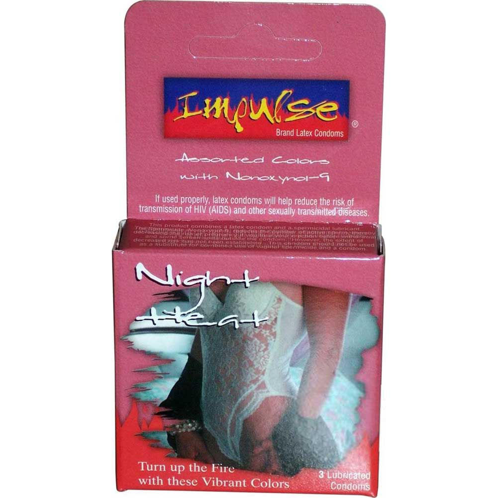 Topcat Impulse Night Heat Lubricated Condoms Pack of 3 Assorted Colors - View #1