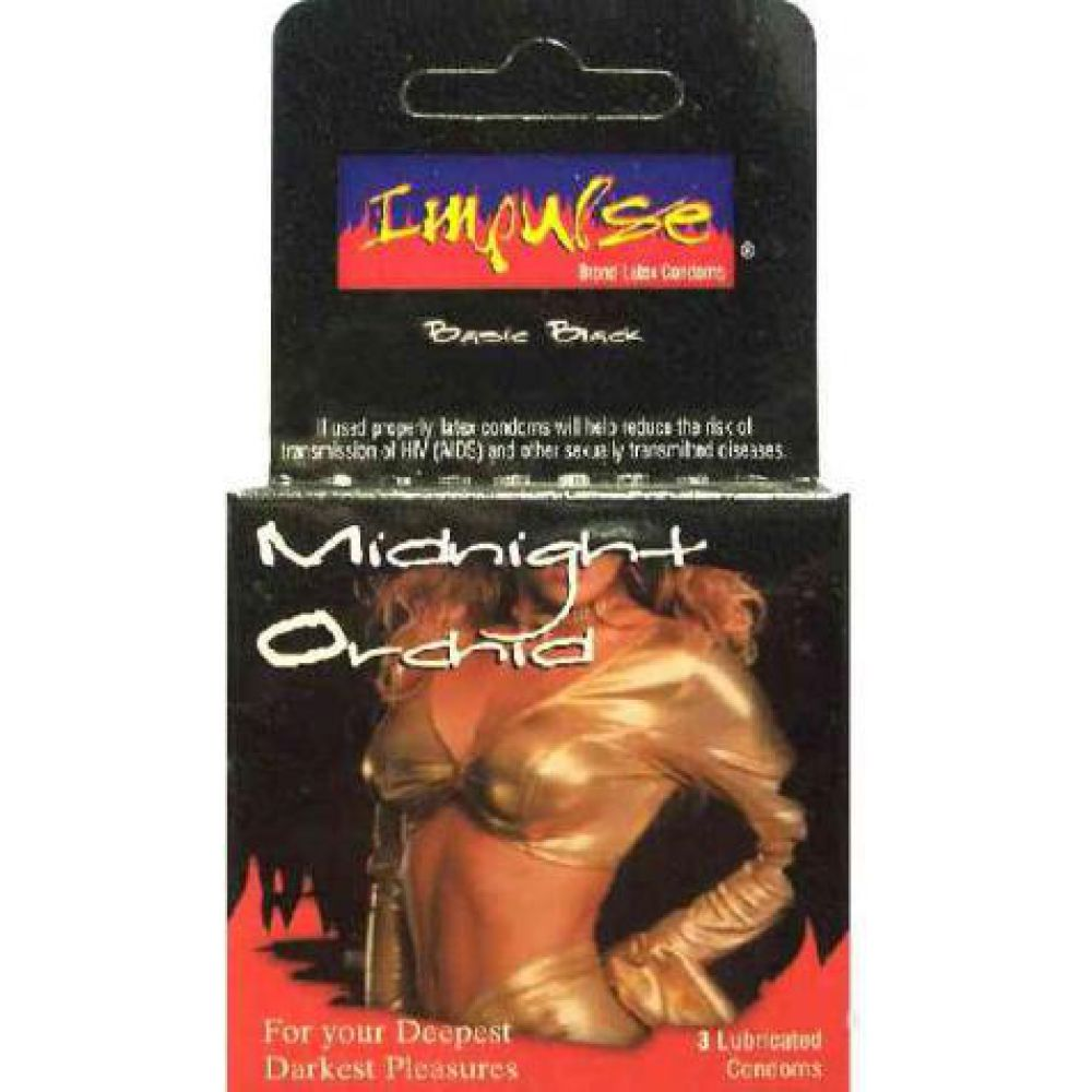 Top Cat Impulse Midnight Orchid Lubricated Condoms Pack of 3 - View #1