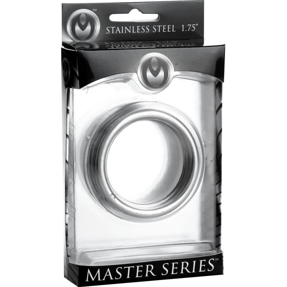 """XR Brands Master Series Echo Stainless Steel Triple Cock Ring 1.8"""" Silver - View #3"""