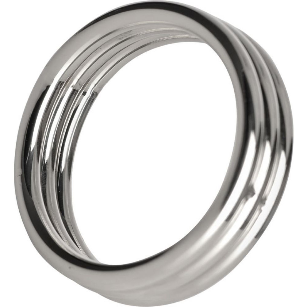 "XR Brands Master Series Echo Stainless Steel Triple Cock Ring 2"" Silver - View #2"