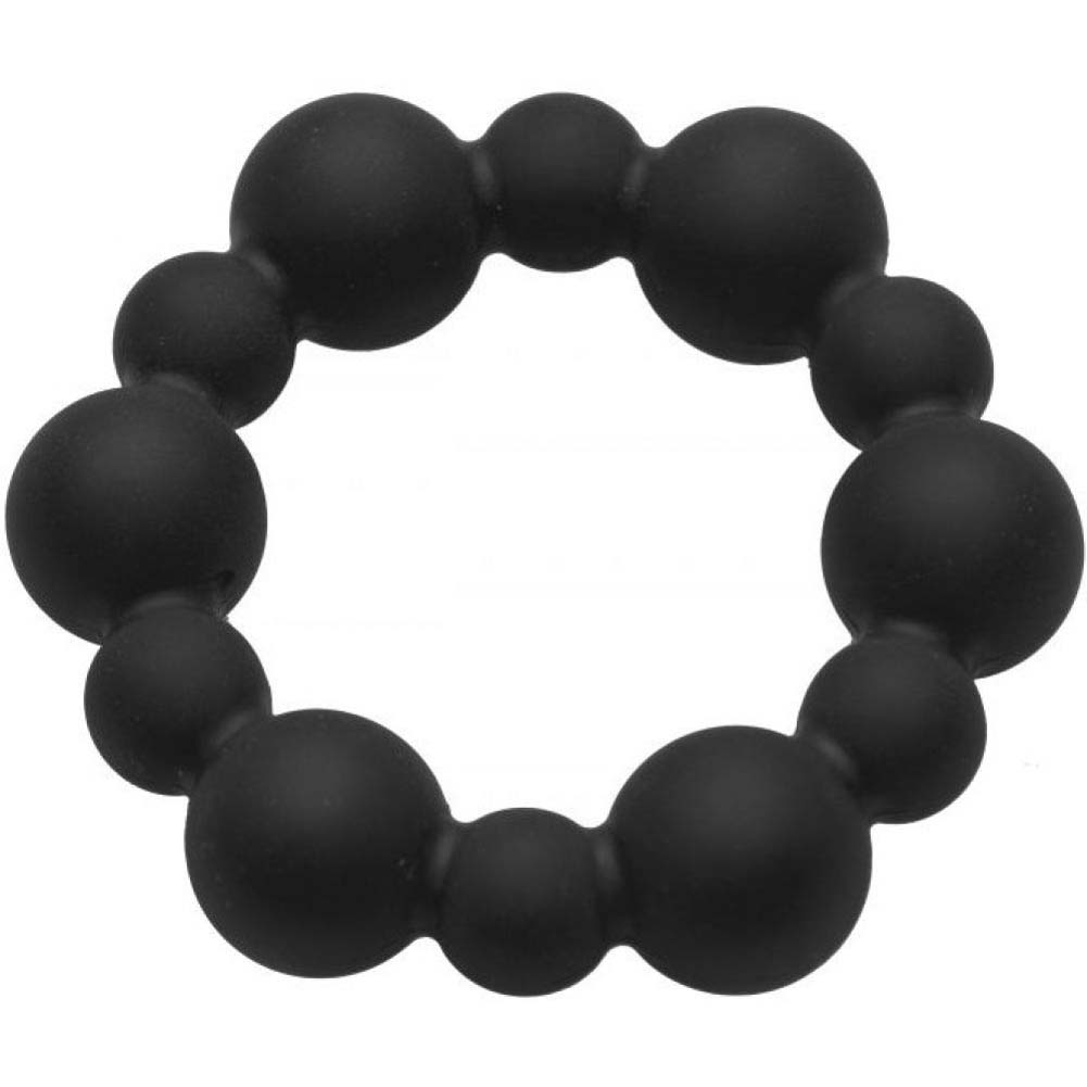 "XR Brands Master Series Shadow 2 Silicone Beaded Cock Ring 2"" Black - View #2"