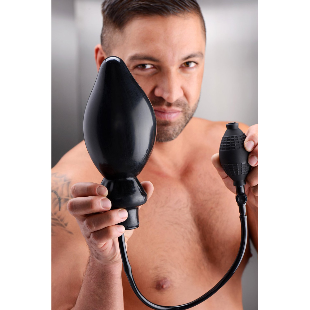 "Master Series Expand Extra Large Inflatable Anal Plug Black 6"" - View #3"