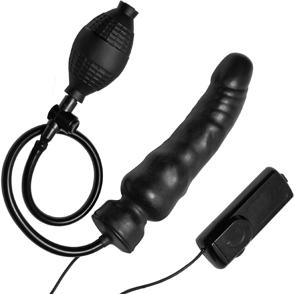 "Master Series Ravage Vibrating Inflatable Dildo 7.5"" Black - View #2"