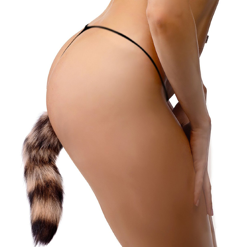"Frisky Faux Fox Tail with Glass Anal Plug 4"" Orange - View #1"