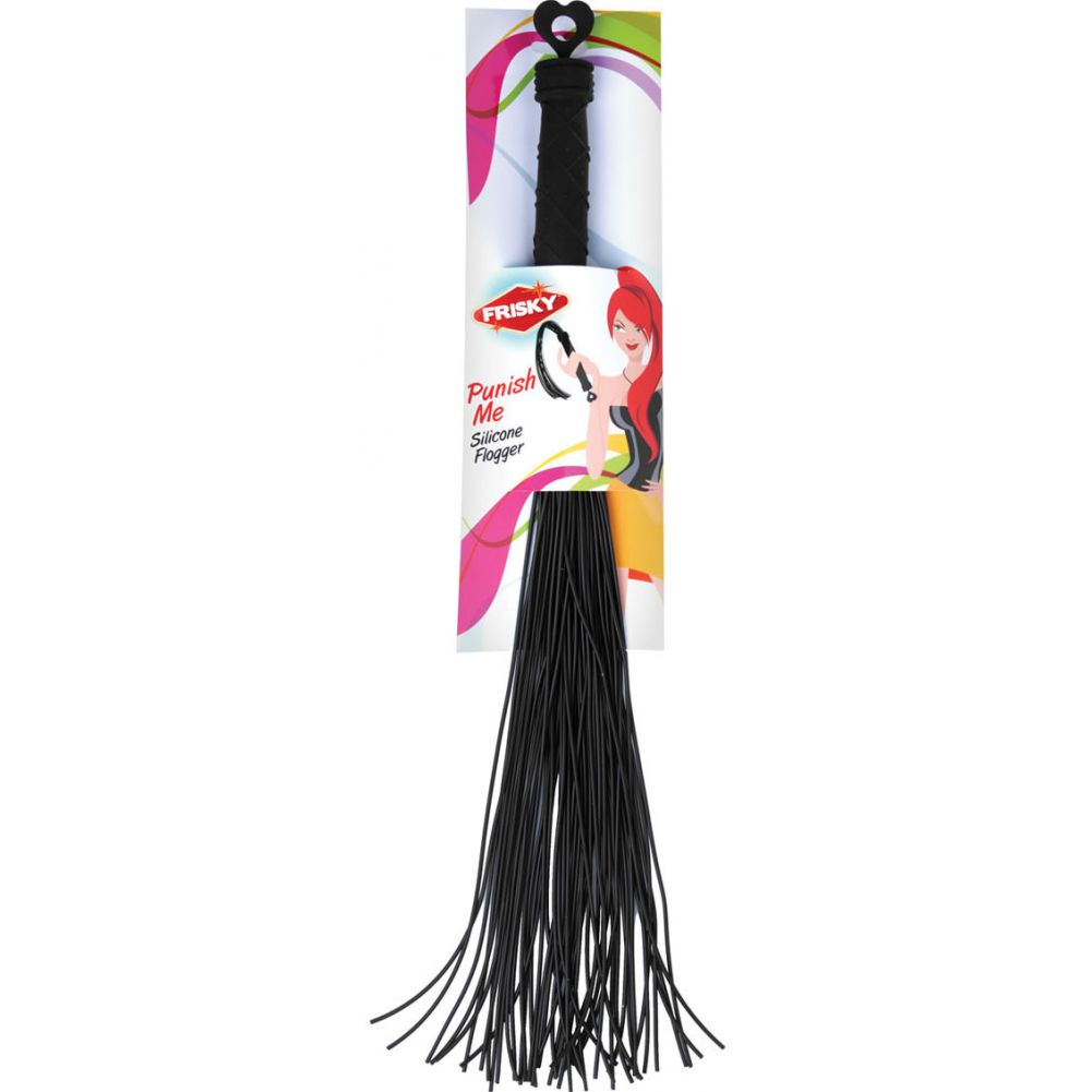 "Frisky Punish Me Silicone Flogger Black 19.25"" - View #1"