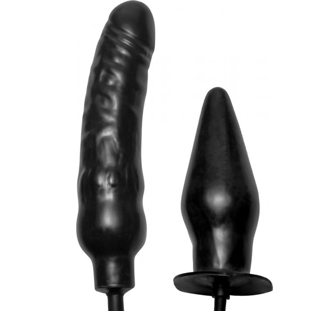 "Master Series Deuce Inflatable Dildo and Anal Plug 8.5"" Black - View #3"