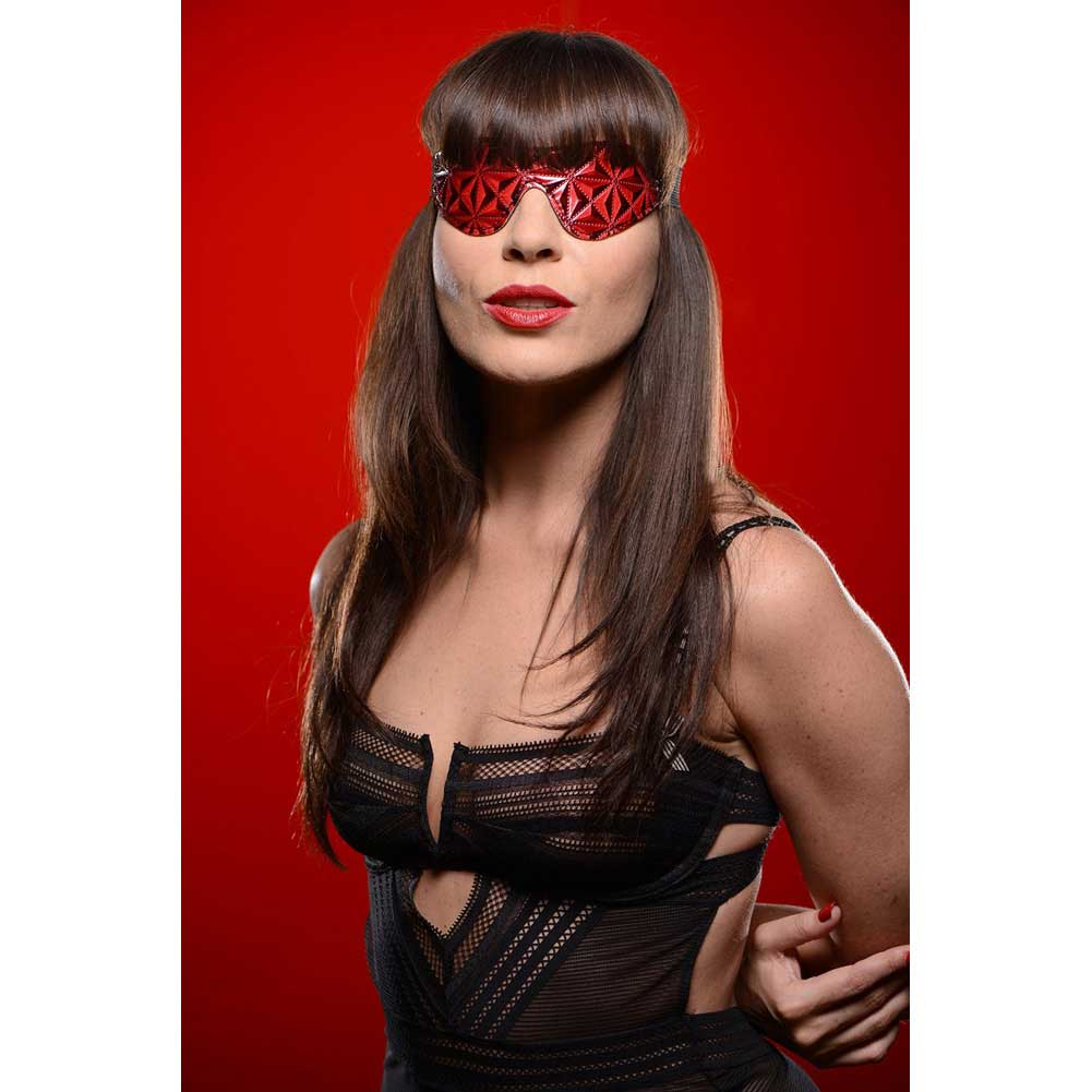 Master Series Crimson Tied Blackout Blindfold One Size Black and Red - View #3