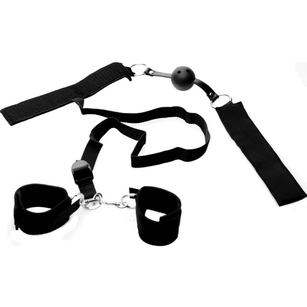 Master Series Crimson Tease Tame Me Ball Gag Wrist Restraint System - View #2