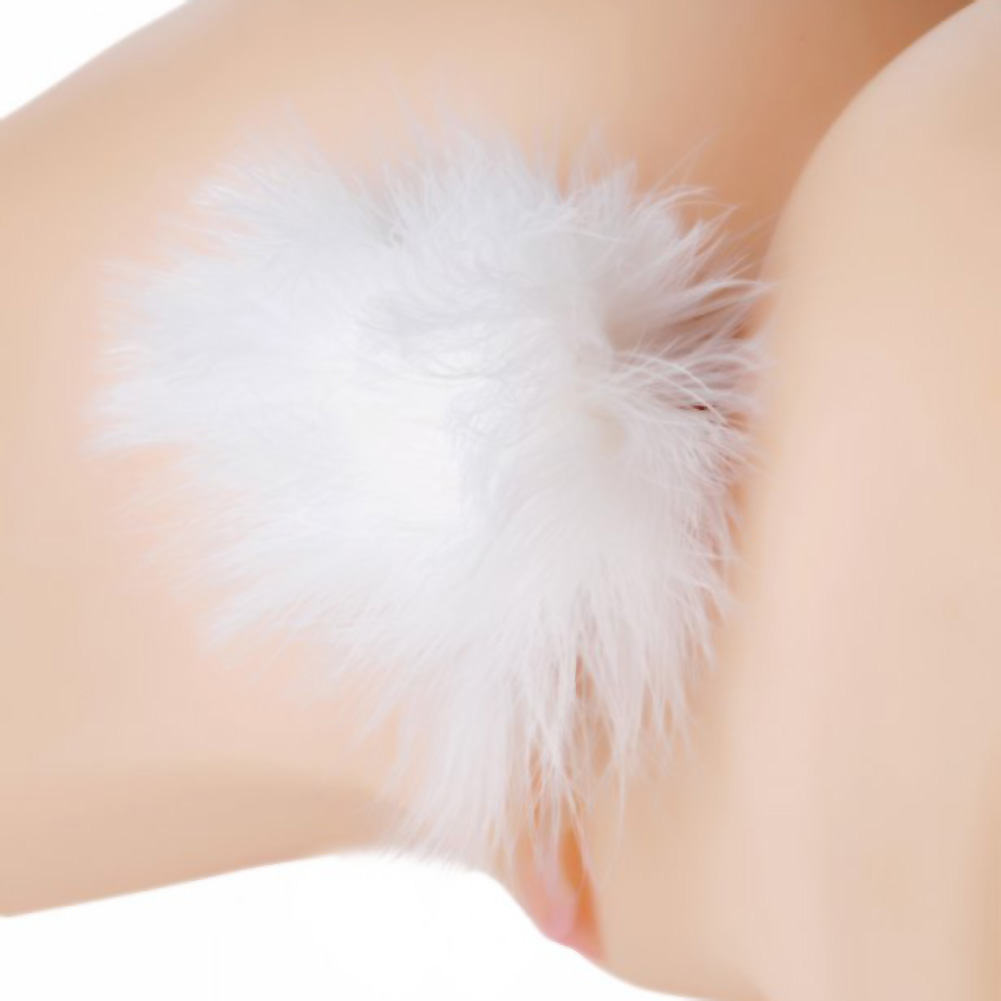 "Frisky Fluffer Bunny Tail Glass Anal Plug Black White Fur 3"" - View #1"
