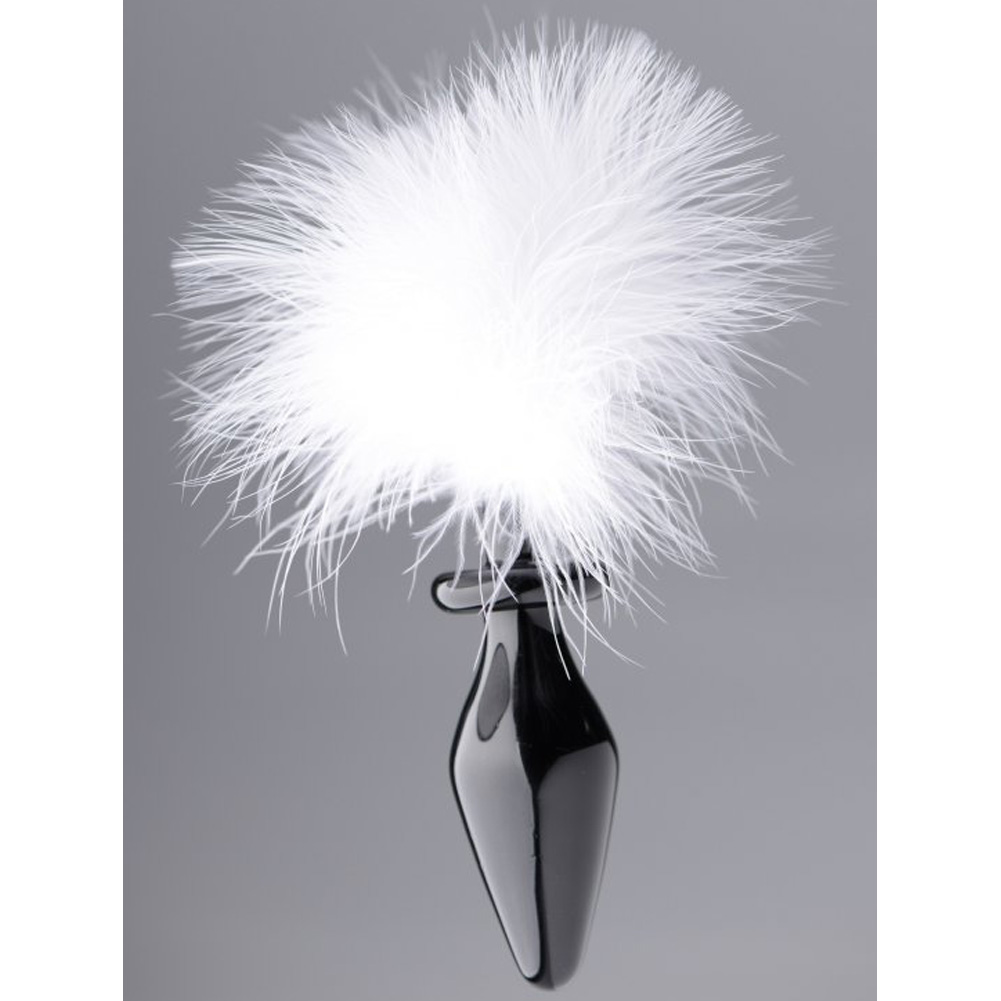 "Frisky Fluffer Bunny Tail Glass Anal Plug Black White Fur 3"" - View #3"
