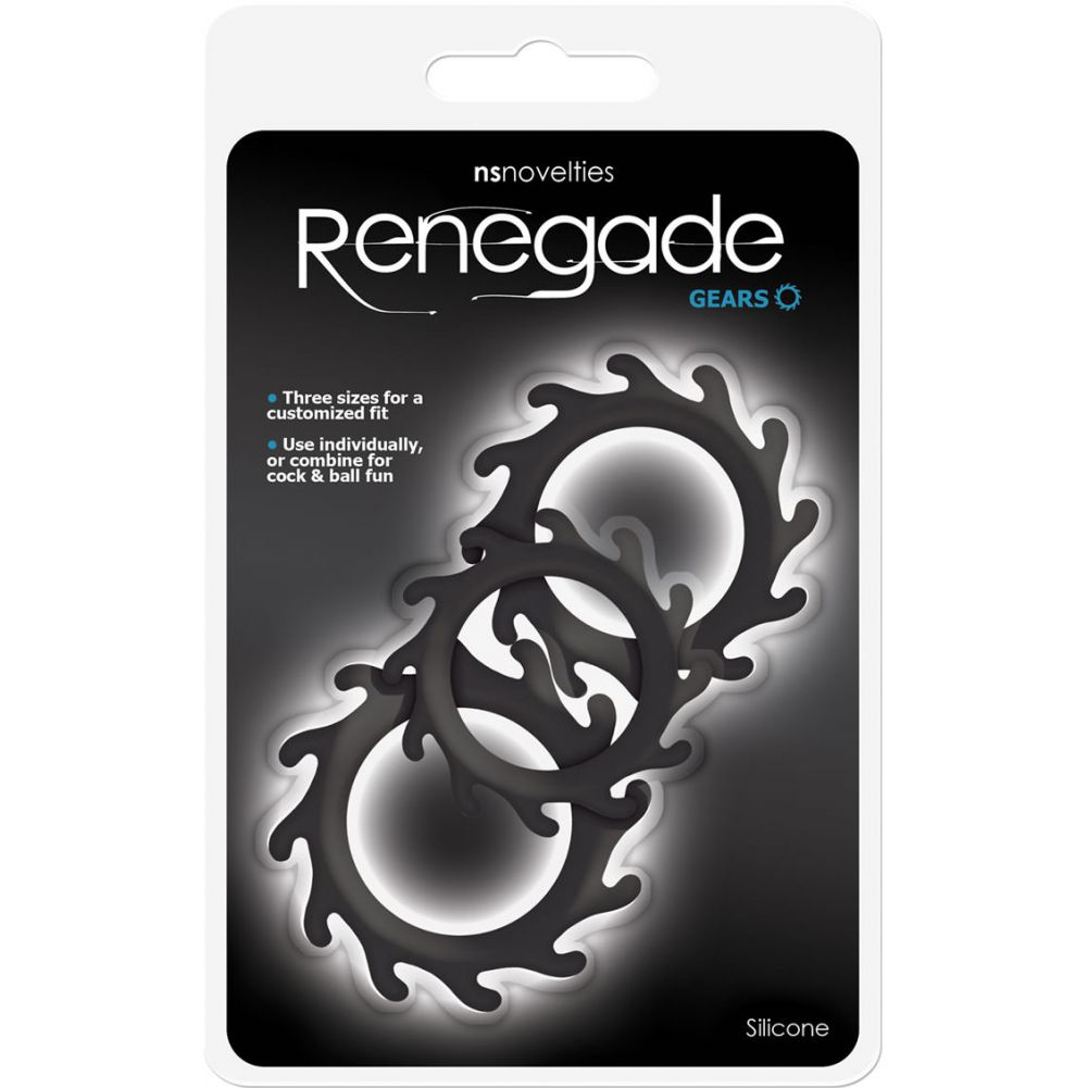 NS Novelties Renegade Gears Silicone Cock Ring Black Set of 3 - View #1