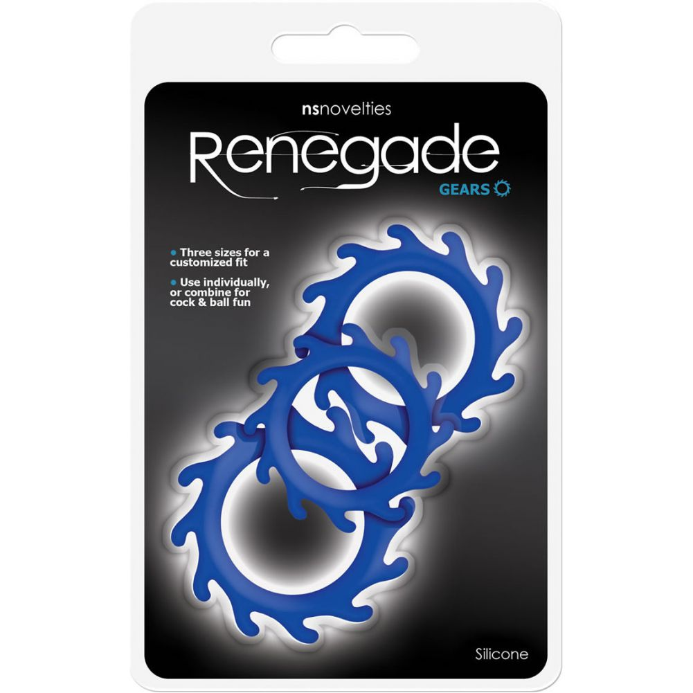 NS Novelties Renegade Gears Silicone Cock Ring Pack of 3 Blue - View #1