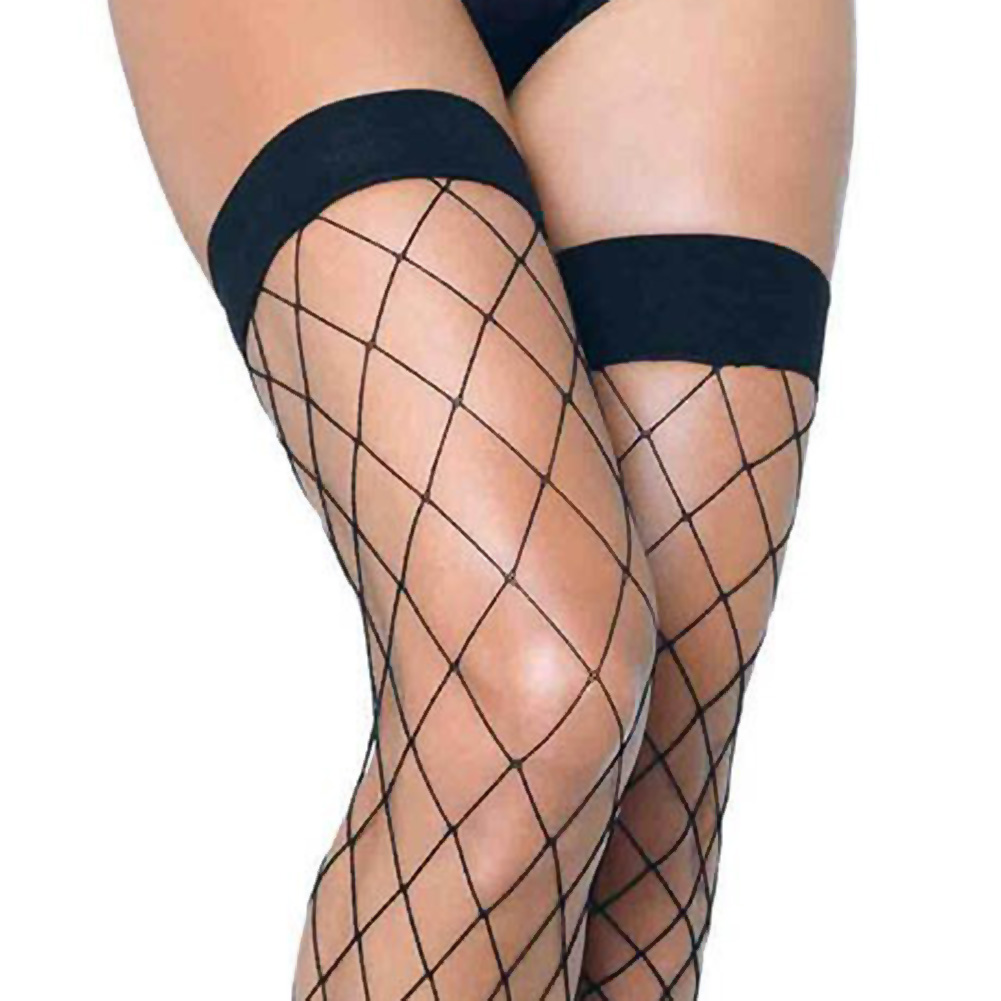 Leg Avenue Fence Net Thigh Highs One Size Black - View #2