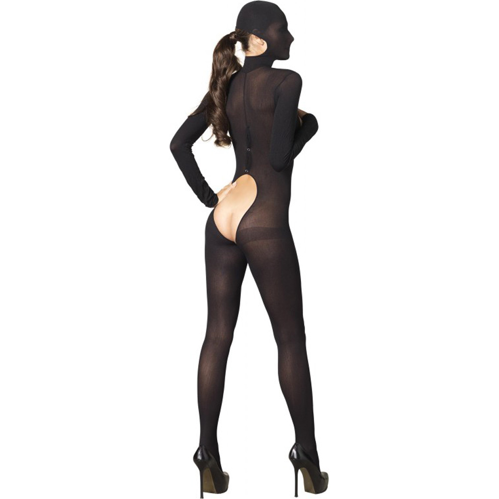Leg Avenue Kink Collection Hooded Cupless Bodystocking One Size Black - View #2