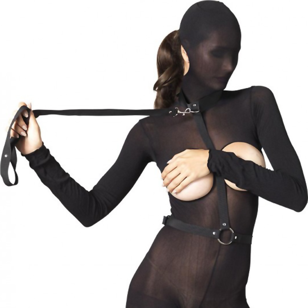 Leg Avenue Kink Collection Nylon Bondage Harness with Leash One Size Black - View #1