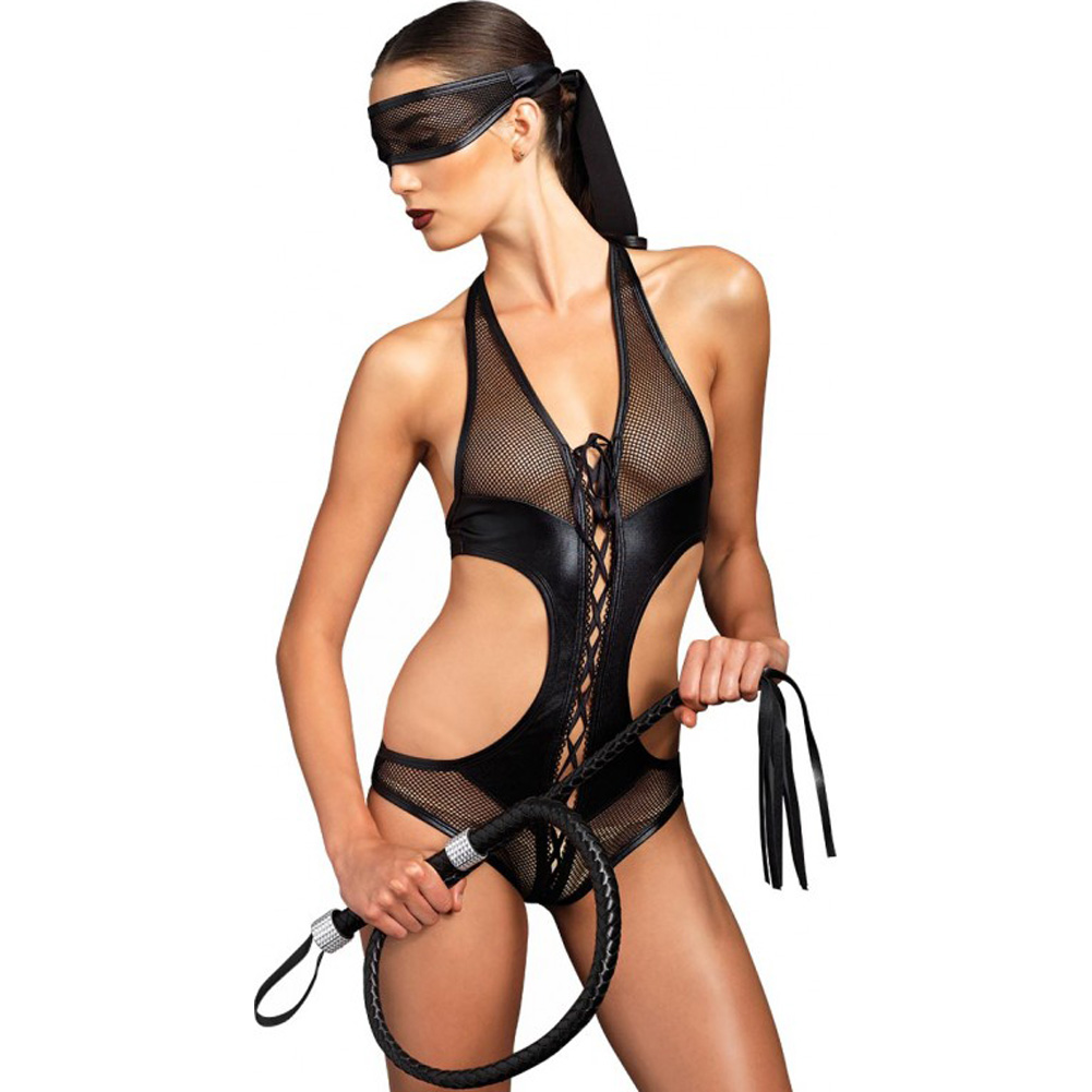 Leg Avenue Kink Collection Lace Up Fishnet Crotchless Corset and Mask Small/Medium Black - View #1