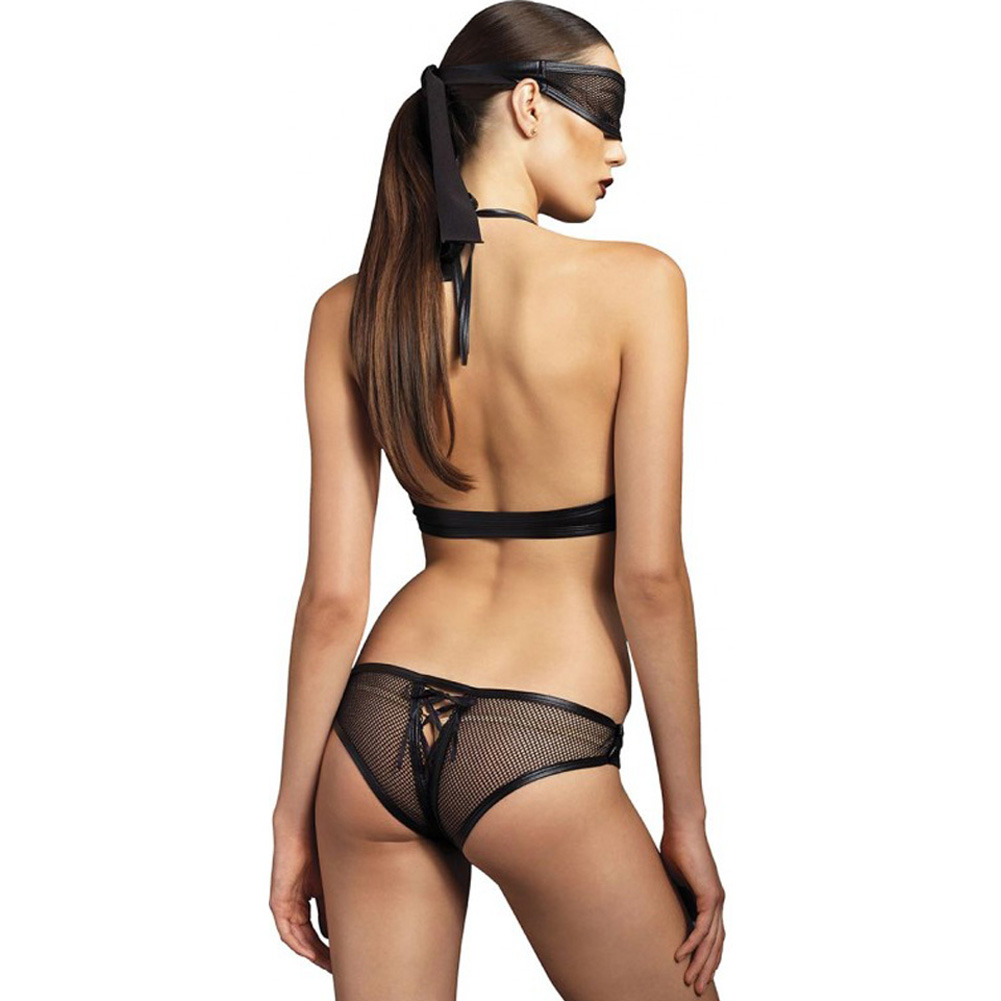 Leg Avenue Kink Collection Lace Up Fishnet Crotchless Corset and Mask Medium/Large Black - View #2