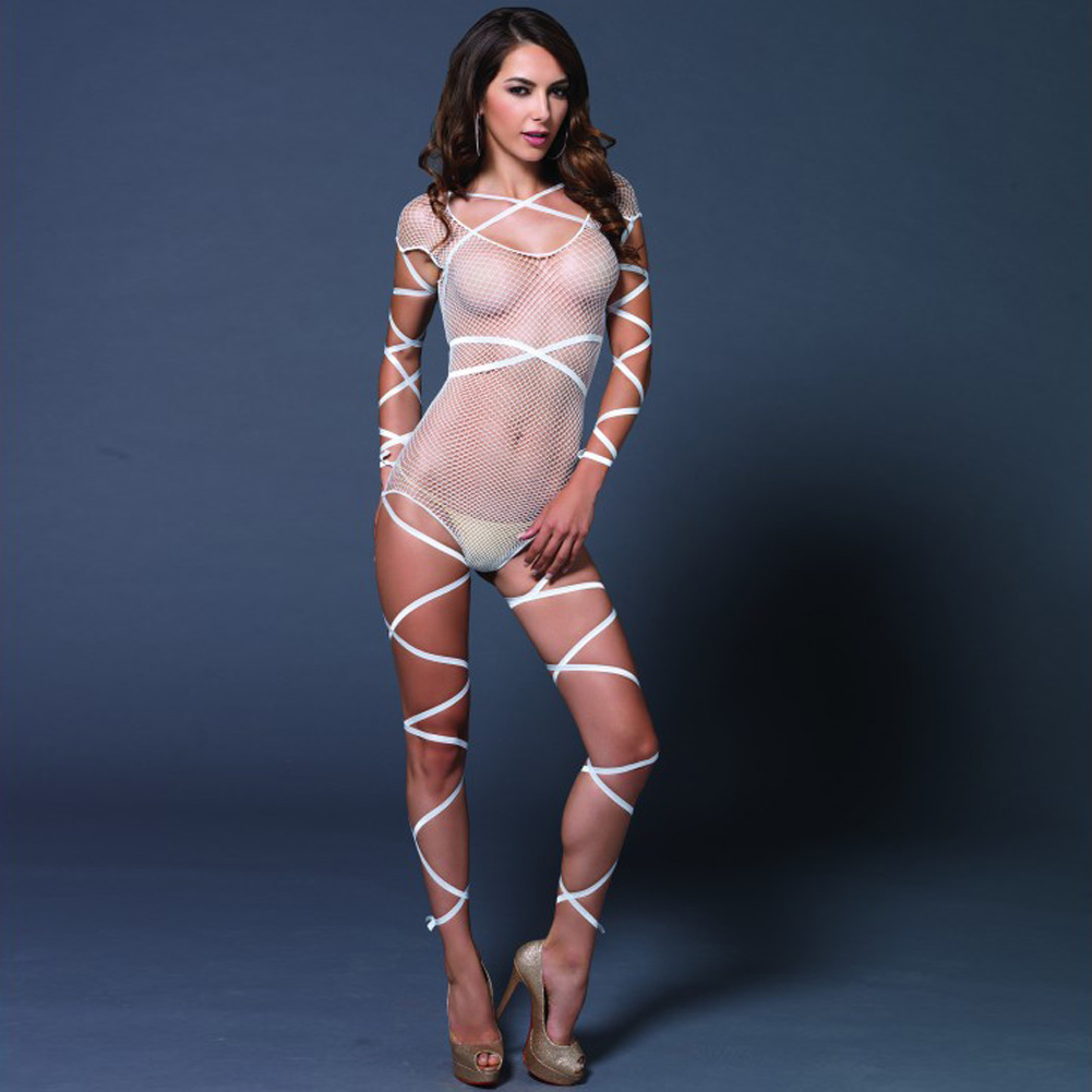 Leg Avenue Fishnet Teddy with Attached Wrap Around Straps One Size White - View #3